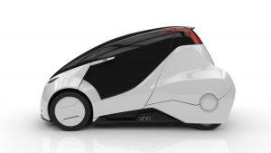 De dolda bakhjulen på den första prototypen fick bilen att likna en dammsugare. Foto: Uniti