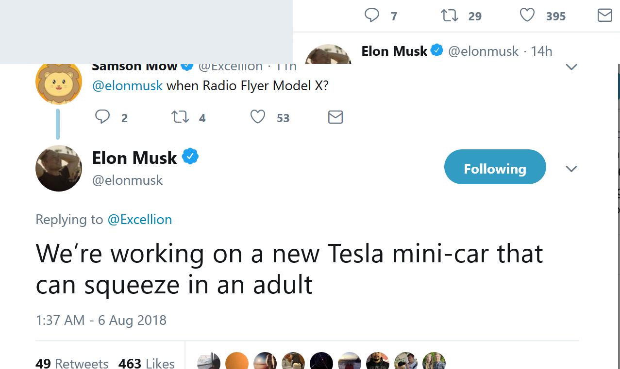 Screenshot_2018-08-06 Elon Musk on Twitter We're working on a new Tesla mini-car that can squeeze in an adult…