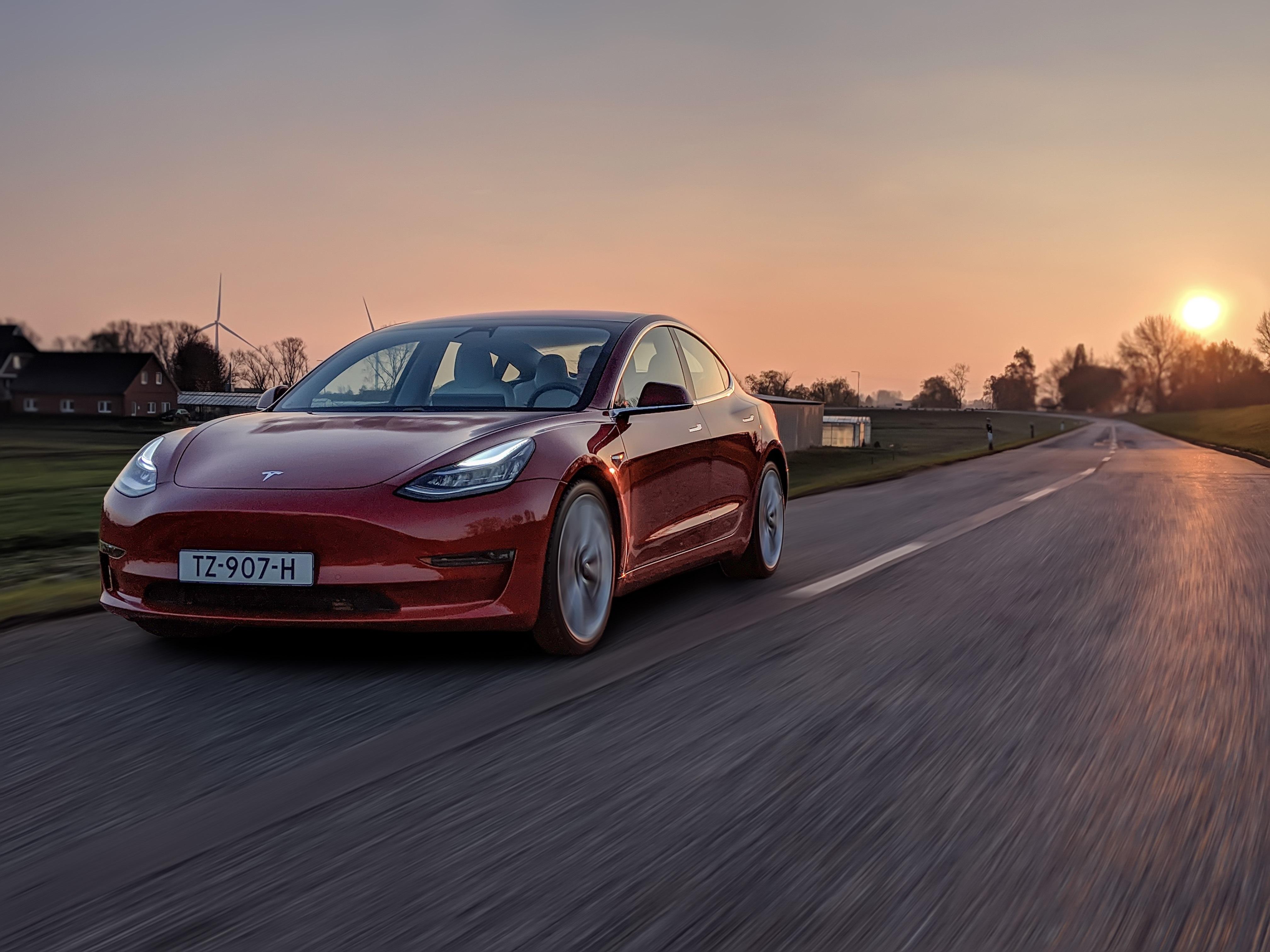 Model 3 in Europe Sunset